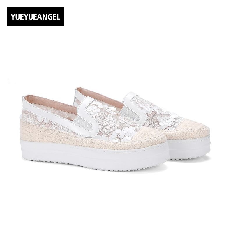 2017 New Arrival Fashion Womens Casual Shoes Slip On Round Toe Top Quality Mesh High Heel Female Footwear Plus Size Sequins female high quality sweet bow knot plus size 35 44 round toe women shoes on flats casual footwear matching shoes and bags italy
