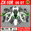 Hot Sale Fairings For Kawasaki ZX10R 06 07 Black White With Green Flames 2006 2007 ZX