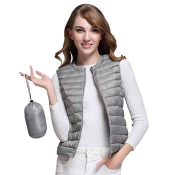 Kenancy Women Plus Size Autumn Winter Warm Vest Sleeveless Women Coats Lightweight Duck Down Vests Casual Waistcoat Jacket 2018