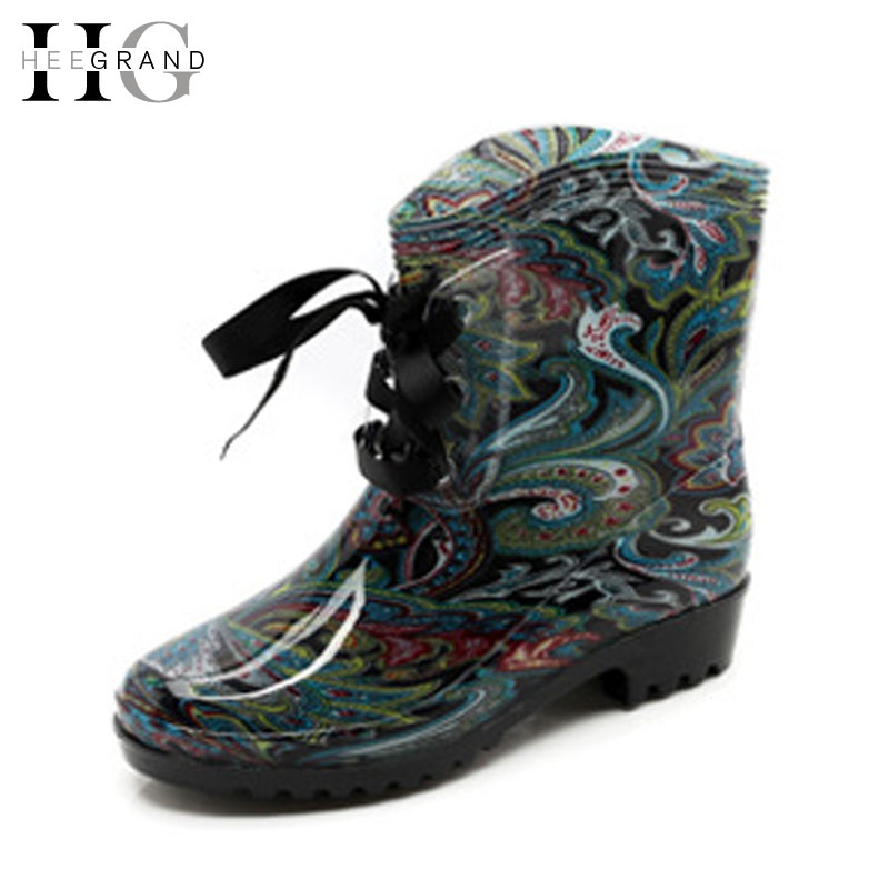 HEE GRAND Ribbons Rain Boots Women Ankle Boots Casual Platform Shoes Woman Lace-Up Flats Women Shoes Size 36-41 XWX4750 цены онлайн