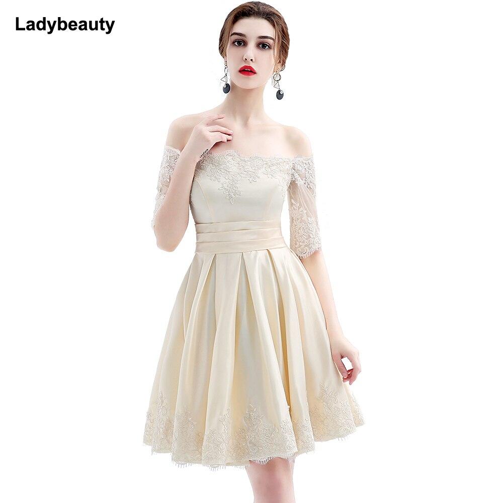 Ladybeauty 2018 new fashion short design party plus size vestido de festa champagne color prom dresses
