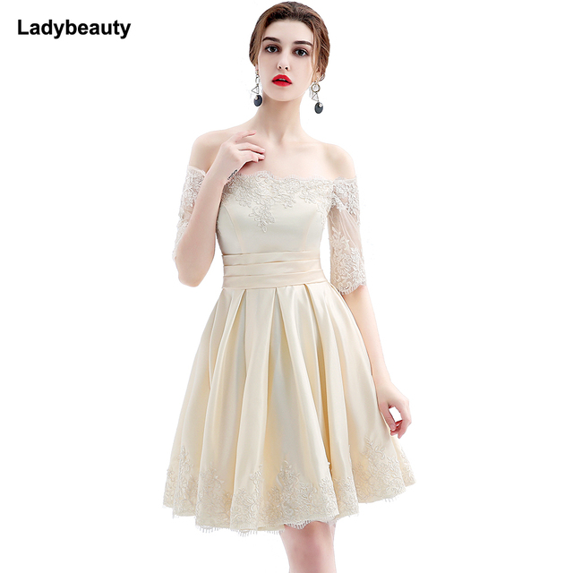 US $38.0 |Ladybeauty 2018 new fashion short design party plus size vestido  de festa champagne color prom dresses-in Prom Dresses from Weddings & ...