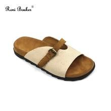 Roni Bouker 2018 Baru Musim Panas Kulit Asli Wanita Gesper Sepatu Slip Pada Round Toe Wanita Sandal Sandal Datar Grosir Dropship
