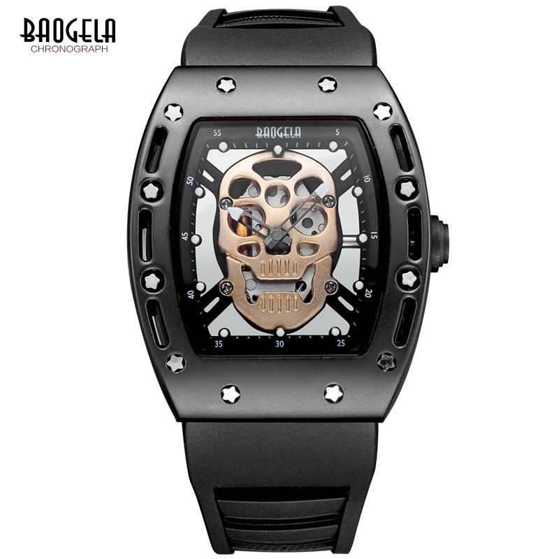 Baogela Fashion Mens Skeleton Skull Luminoso al quarzo Orologi stile militare Black Silicone Rectangle Dial Orologio da polso per Man1612