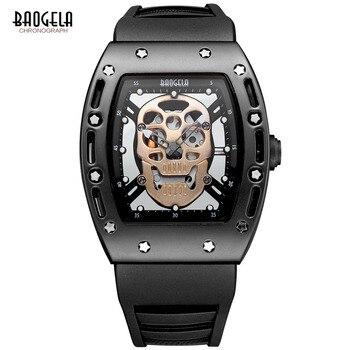Baogela Fashion Mens Skeleton Skull Luminous Quartz Watches Military Style Black Silicone Rectangle Dial Wristwatch for Man1612 Мотоцикл