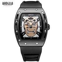 Baogela Fashion Mens Skeleton Skull Luminous Quartz Watches Military Style Black Silicone Rectangle Dial Wristwatch for Man1612