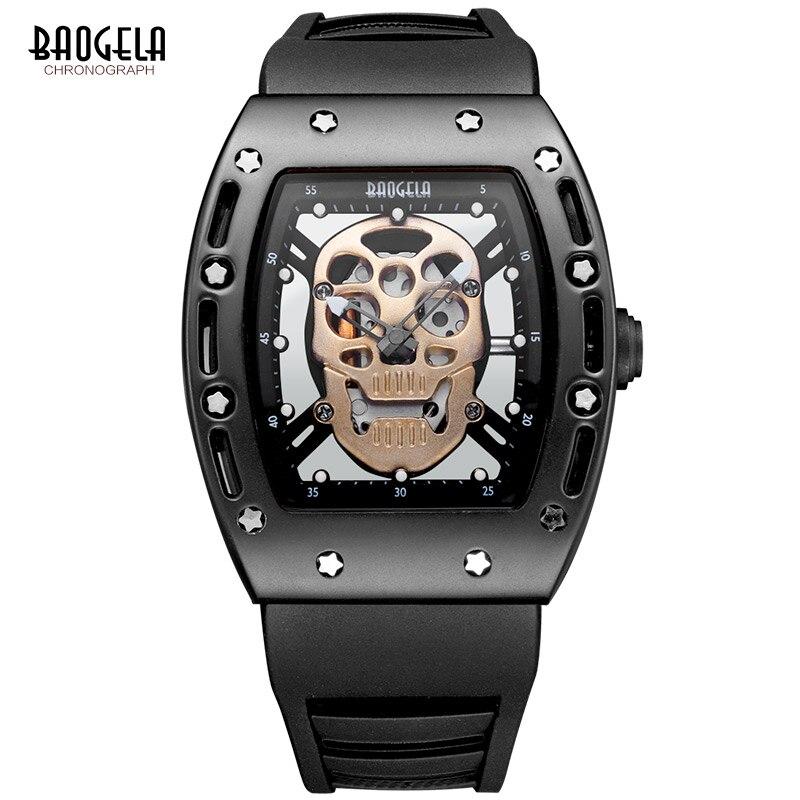 Baogela Mode Herren Skeleton Schädel Leucht Quarz Uhren Militärischen Stil Schwarz Silikon Rechteck Zifferblatt Armbanduhr für Man1612