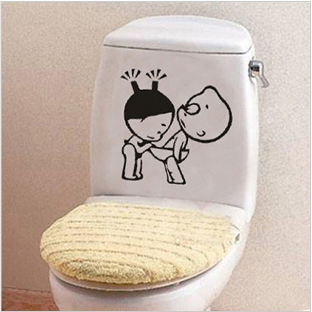 Funny Bathroom Decor Home Decoration Creative Toilet Stickers For Wc Kids Room Vinyl Wall Sticker