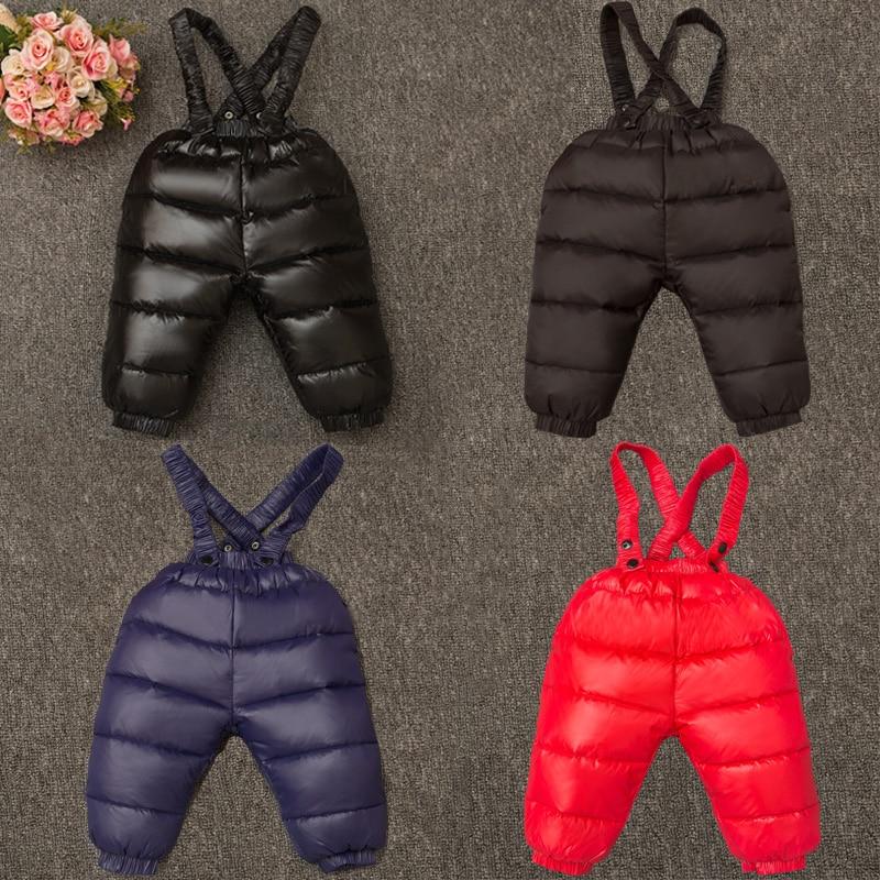 -30 Degree Thicken Pants 2-6y Baby Down Brace Pant Chlildren Winter Ski Pants 90% White Duck Down Boys Snowwear Outwear For Girl winter down pants for boys