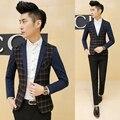 Estilo coreano Projeto da Manta dos homens Patchwork Blazer de Manga Comprida Um Botão Slim Fit Blazer Jaquetas Casacos de Moda Terno Dos Homens Casuais masculino