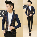 Korean Style Plaid Design Men's Blazer Patchwork Sleeve One Button Slim Fit Casual Blazer Jackets Fashion Mens Suit Coats Male