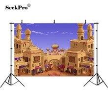 パーソナライズされたアラビアアラジン宮殿城砂漠砂玄関背景ビニール布コンピュータ子供キッズ背景