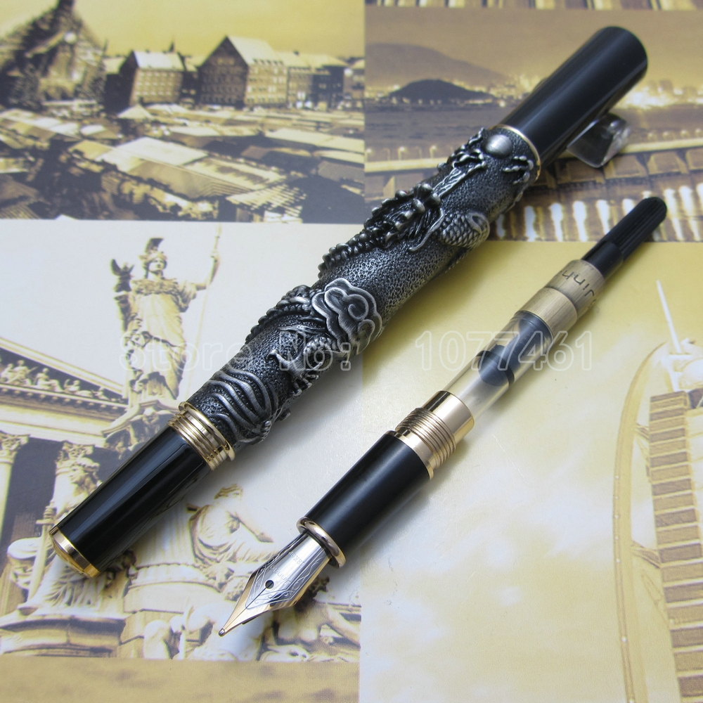 Advanced Fountain Pen Jinhao Chinese Dragon antique Pen with gift box Silver White Gold Copper Bronze Optional J1C37 9901 fine financia pen student pen art fountain pen 0 38 0 5 0 8mm optional gift box set