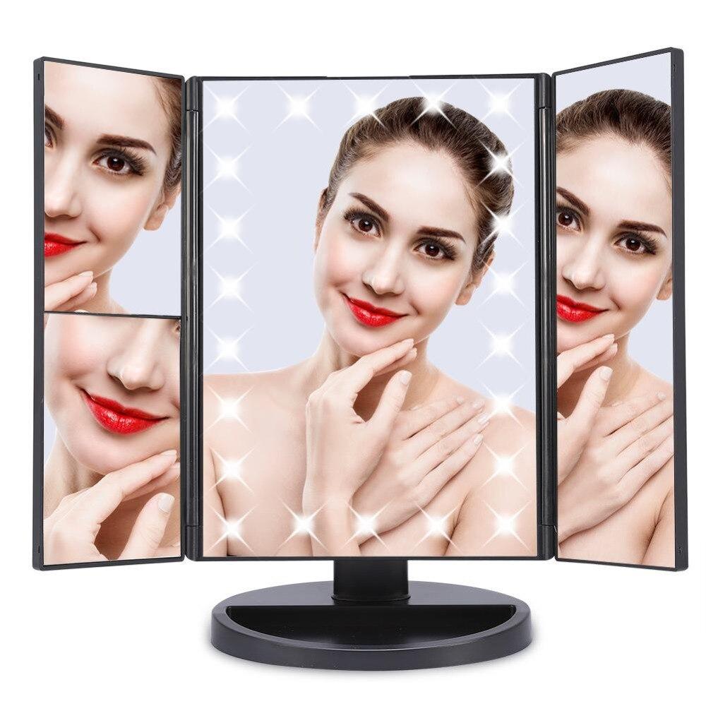 Schminkspiegel 22 Leds Licht Touchscreen Make-up Spiegel 1x/2x/3x Vergrößerungs Spiegel Eitelkeit 3 Folding Einstellbare 180 Grad Rotierenden Spiegel GroßE Auswahl;