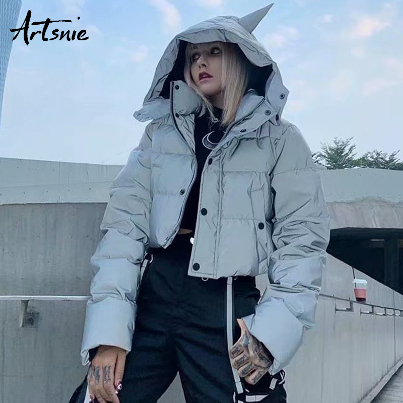 Artsnie Winter 2018 Ugly Christmas Short   Parkas   Women Thick Warm Luminous Hooded Casual Coats Female Double Pockets Jackets