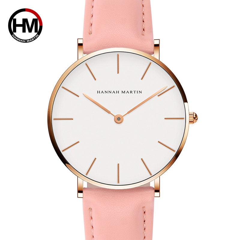 все цены на Hannah Martin Casual Quartz Watch Women Pink Ladies Watch With Leather Strap Waterproof Wrist Watches For Women Zegarek Damski онлайн