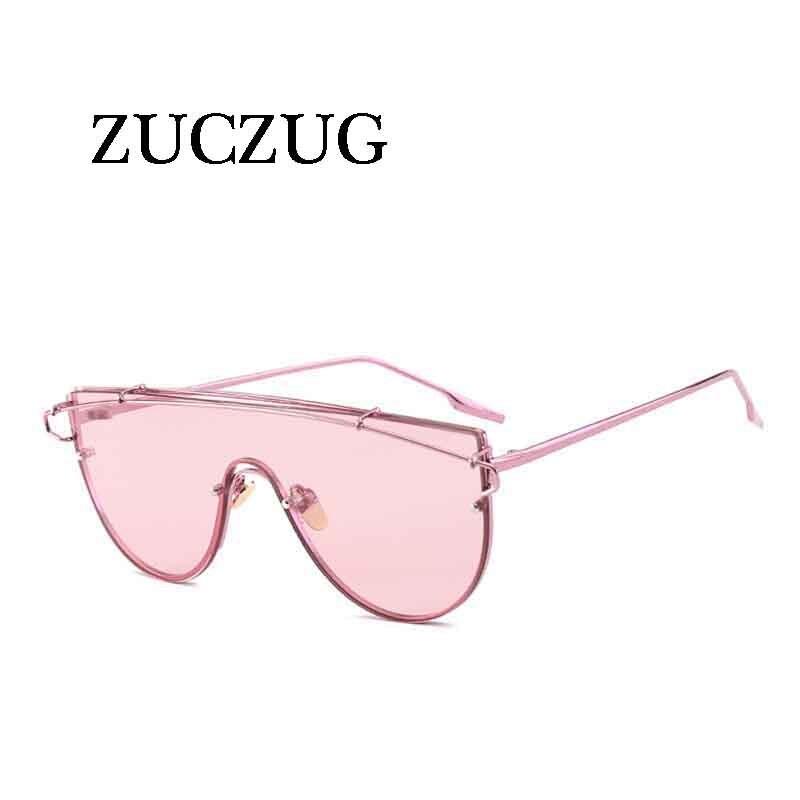 ZUCZUG Luxury Brand One Piece lens Sunglasses Women Brand Design Retro Oversized Eyewear Clear Pink Red Sun Glasses Female UV400
