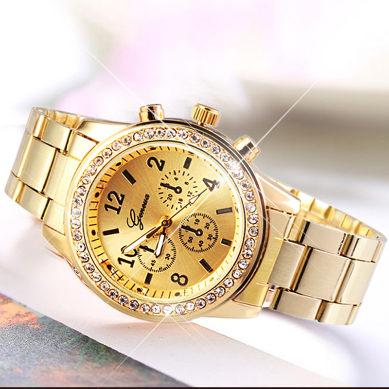 Brand Crystal Fashion Casual Gold Watch Men Stainless Steel Quartz Wristwatches For Man Women Relogios Masculino Clock Relojes halei lovers watches crystal inlaid full steel quartz watch women men simple casual wristwatches silver clock calendar relojes