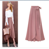 Womens Skirts Summer Elegant Vintage Asymmetric High Waist Casual Party Bandage Dress Fitted Long Skirt Plus