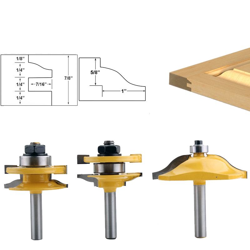 Купить с кэшбэком 3PC 8mm Shank high quality Raised Panel Cabinet Door Router Bit Set - 3 Bit Ogee  Woodworking cutter woodworking router bits
