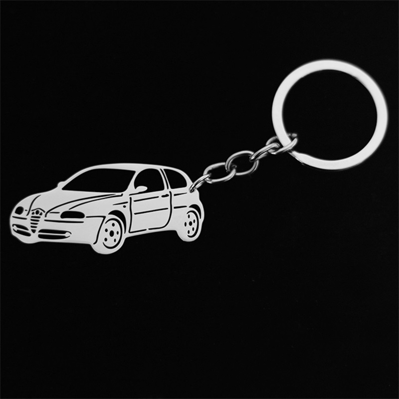 Stainless steel hollow BMW car model pendant key chain key chain jewelry image
