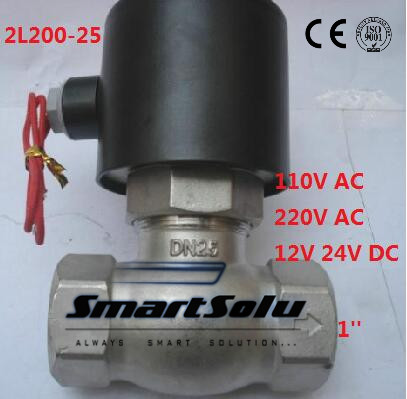 Free shipping 2L200-25 2Way NC Hi-Temp 1'' Stainless Steel Steam Electric Solenoid Valve PTFE DC24V 1 2bspt 2position 2way nc hi temp brass steam solenoid valve ptfe pilot