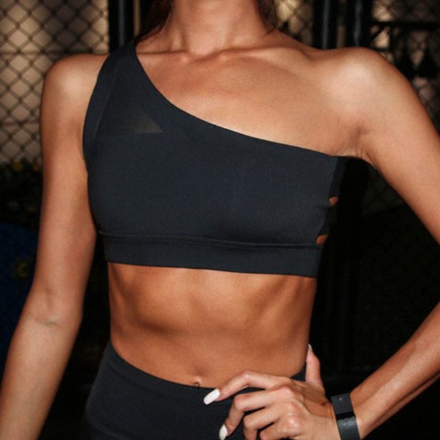Sports Bra Oblique One Shoulder Strap Women gym bra Hollow out Back Lines Strenuous Exercise fitness bra Tops Female Fitness Top 1