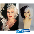 Sofeel  perruque synthetic women Cruella Deville short ombre black and white wig Voluminous Bob Wigs