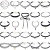 AOMU 24PCS Set Gothic Tattoo Black Lace Leather Choker Necklaces Sets For Women Collar Party Jewelry