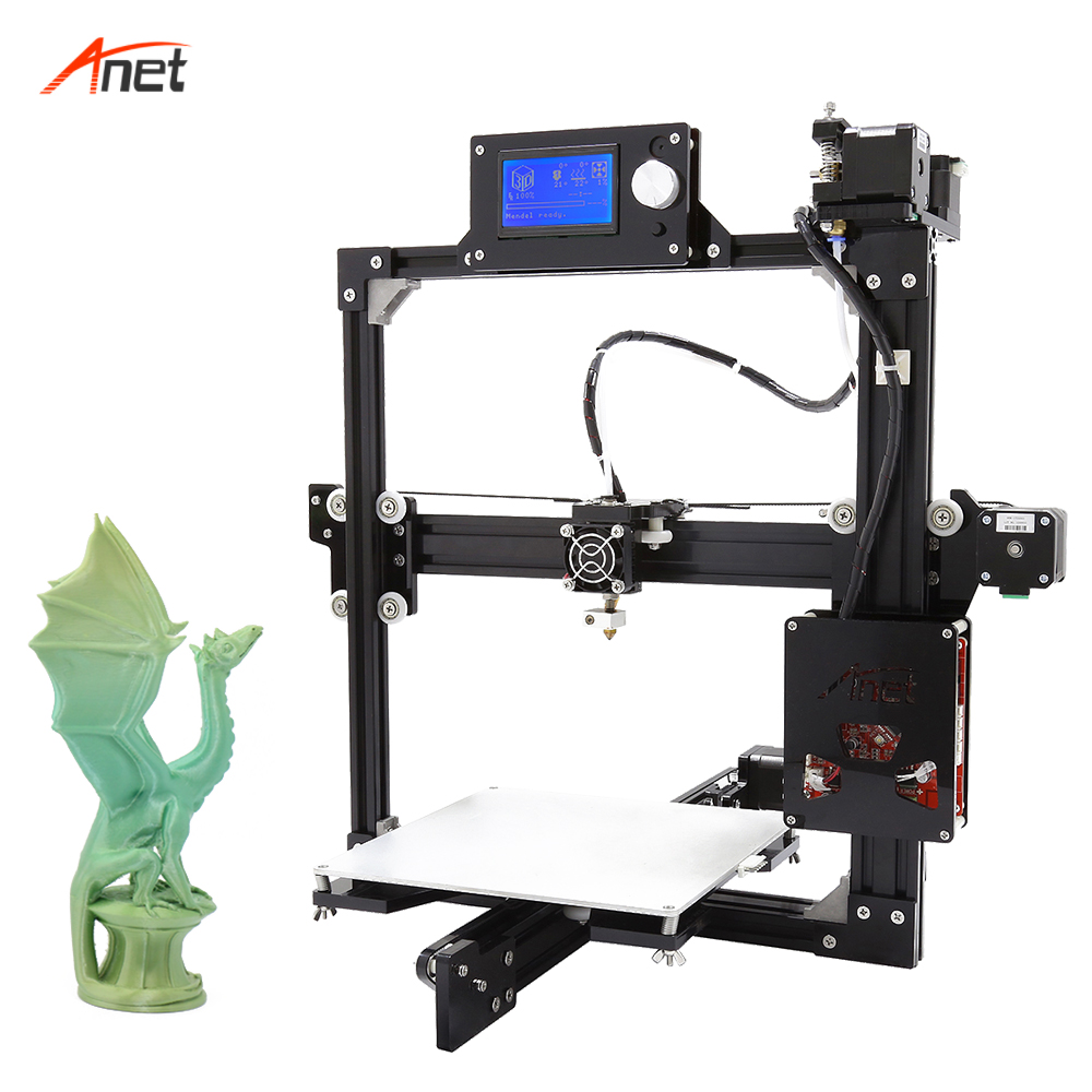 Anet A2 di Grande Formato di Stampa Impresora 3d Full Frame In Metallo Facilità di Montaggio 3d Kit Stampante 2004/12864LCD 10 m filamento Stampante 3d