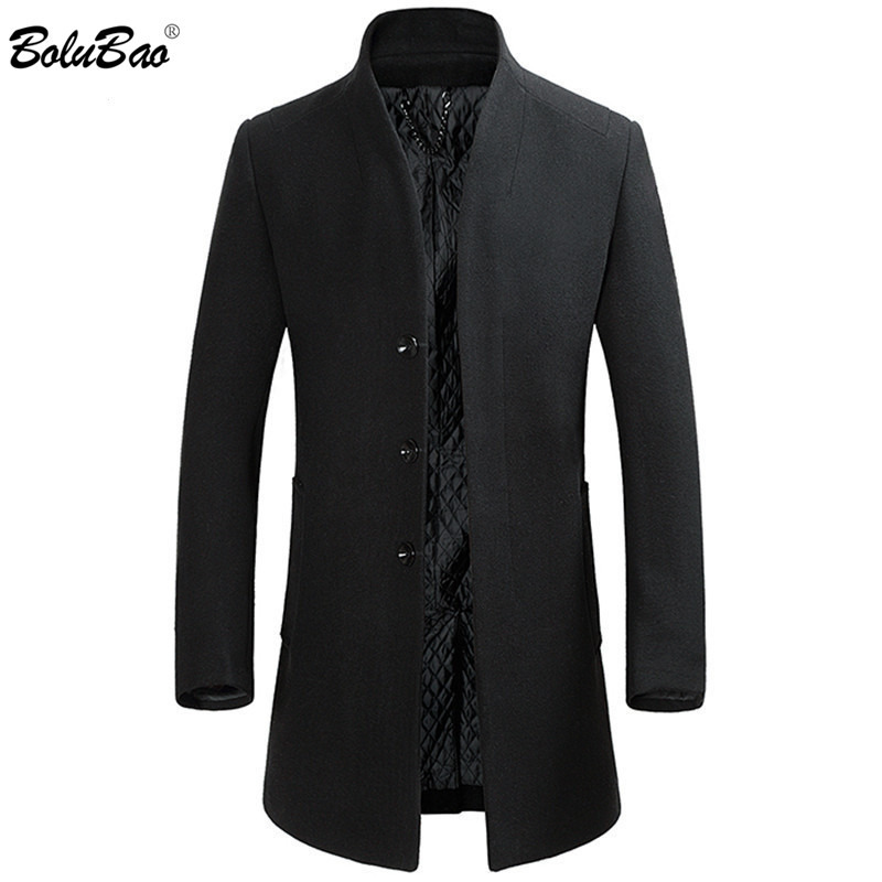 BOLUBAO Brand High Quality Men Wool Blends Coats Men's Long Section Slim Fit Trench Tops Winter New Male Wool Blends Coat