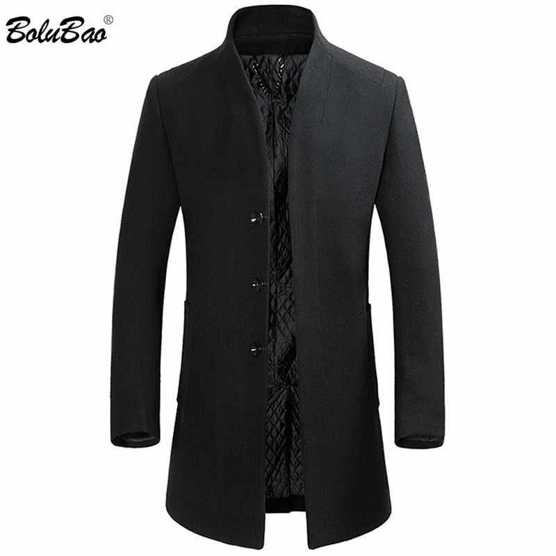 BOLUBAO מותג באיכות גבוהה גברים צמר תערובות מעילי גברים של ארוך סעיף Slim Fit טרנץ חולצות חורף חדש זכר צמר תערובות מעיל