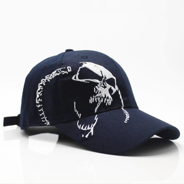 100% Cotton Baseball Cap with Skull Embroidery