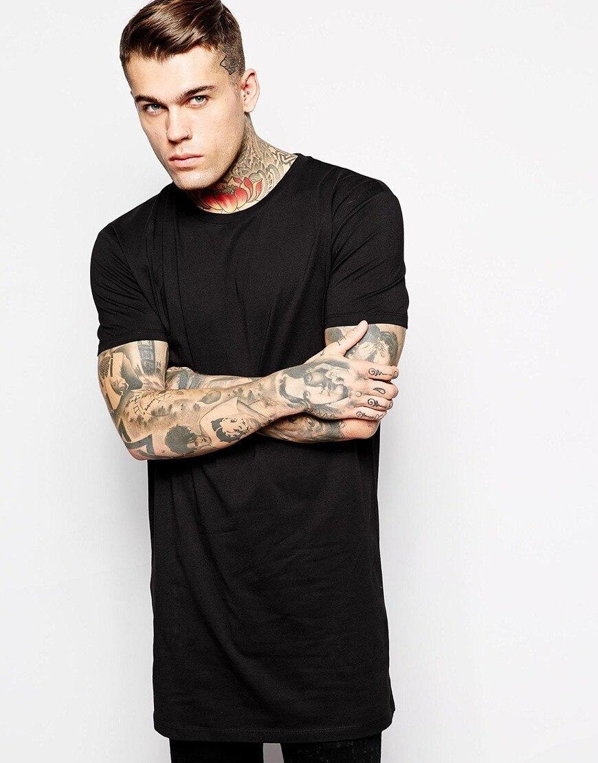 Новая брендовая одежда Мужская s Черная Мужская s длинная футболка топы хип хоп мужская футболка с коротким рукавом Повседневная мужская футболка для мужчин