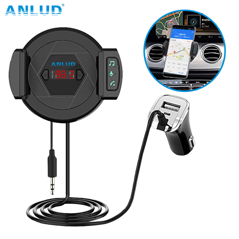 ANLUD Multi Funksjoner Bluetooth 4.1 FM-sender og bil lader Handsfree MP3 Music Audio Player med bil Mobilephone Holder