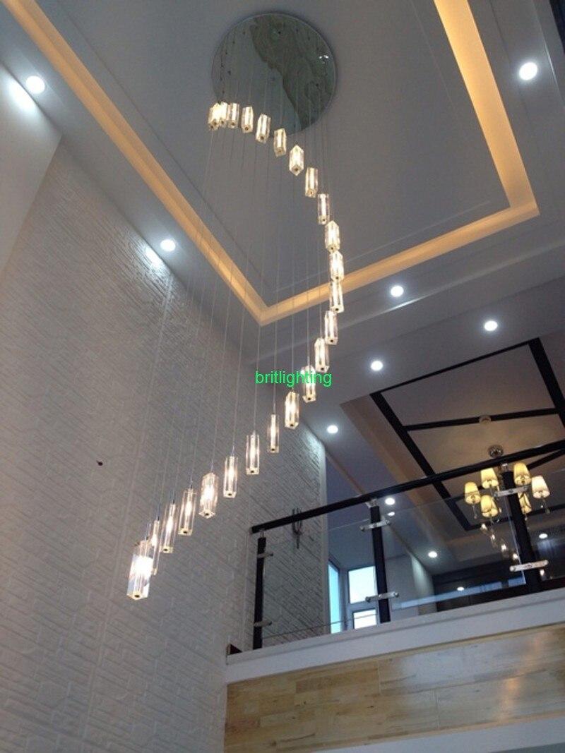 Aliexpress com kronleuchter führte moderne wohnzimmer lampen kristall kronleuchter led lampe treppe beleuchtung lange kristall spirale kronleuchter licht