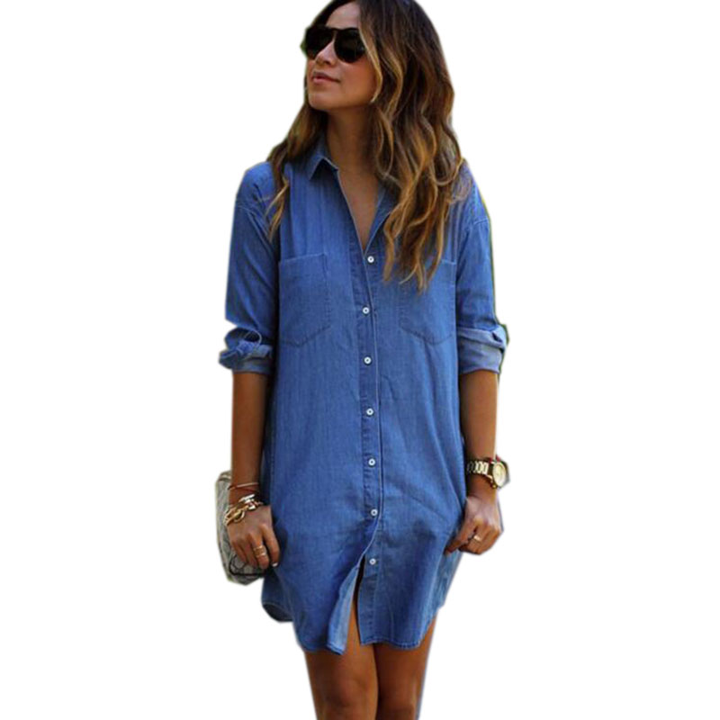 Women Denim Shirt Female Long Sleeve Shirt Womens Denim ...