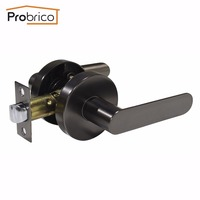 Probrico Stainless Steel Passage Interior Door Lever Door Lock Set Black Bathroom Door Handle Bedroom Door Knob DL03CGPS