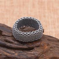 Solid Silver 925 Link Chain Woven Band Rings Men Top Craft Sterling Silver Material Thai Silver Wide Simple Band Ring Men