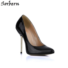 Sorbern Black Women Patent Shoes Gold Metal Stiletto Pointed Toe Slip On High Heels Nude Heels Custom Red Bottom Shoes For Women