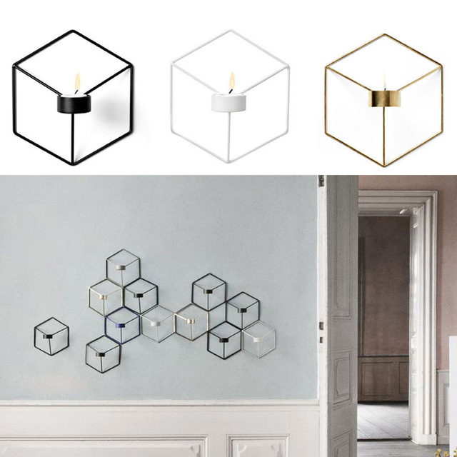 Creative Nordic Style Wall Candle Holder Shelf 3D Geometric Iron Metal Sconce Candlestick Bar Home Decoration E2S