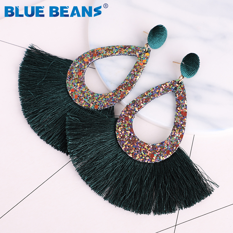 Tassel Earrings Shining Fashion For Women Boho Water Drop Earring Handmade Big Drop Dangle Round Jewelry Party gift statement 11