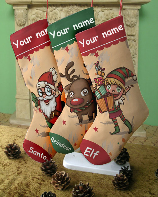 Us 18 9 Custom Christmas Stocking Print Your Name Unique Festivial Gift 4 Designs To Choose Santa Elf Raindeer Snowman Fireplace Decor In Stockings