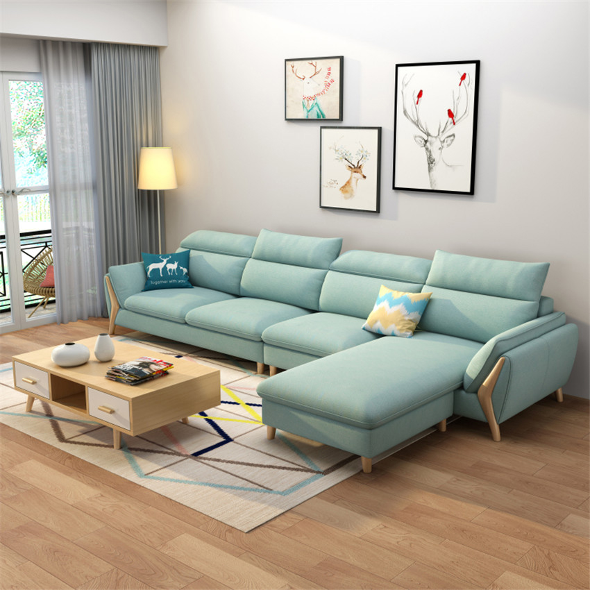 MG001 006 Cotton-Flax Sofa Set Sponge / Latex Cushion Solid Wood Frame Sofa Combination Living Room Sectional Recliner Couch