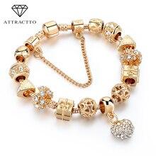 ATTRACTTO Fashion Jewelry Heart Charm Bracelets For Women Crystal Beads Gold Bracelets&Bangles For Pulseira Feminina SBR170009