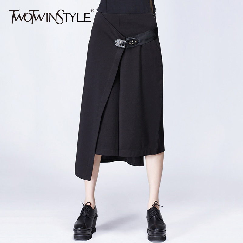 TWOTWINSTYLE Patchwork Pants For Women High Waist Zipper Irregular Calf Length Wide Leg Trouser Female 2020 Spring Fashion New
