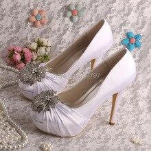 Закрытые Пальцы Насосы Дизайнер Свадебные Туфли Белого Цвета Платформы Каблуки Прелести