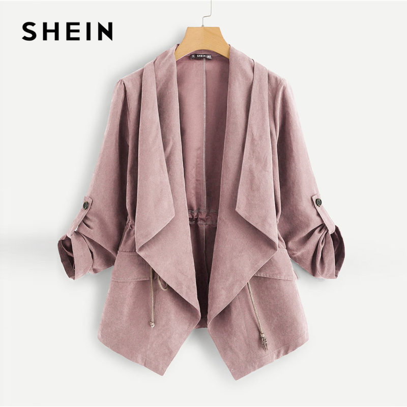 SHEIN Pink Pocket Front Drawstring Pleated Buttoned Sleeve Open Stitch Solid   Trench   Coat Casual Spring Women Coats Outerwear