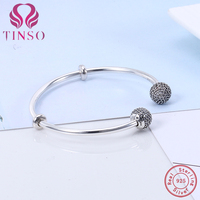 2017 New Arrival High Quality 100 925 Sterling Silver Pave Clear CZ Basic Bangle Fit DIY