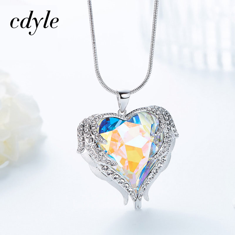 Cdyle Crystals from Swarovski Fashion Jewelry Women Necklaces & Pendant Heart Shaped Bijoux Romantic Chic Valentine's Day Gift joyashiny crystals from swarovski classic romantic heart pendant necklaces drop earrings jewelry sets for women lovers gift